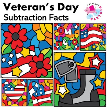 Veterans Day Color by Number Subtraction