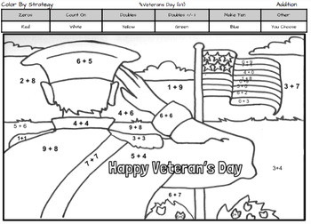 Veteran's Day Coloring Page by Addition Fact Strategy