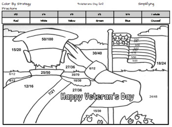 Veteran's Day Coloring Page by Fraction Type
