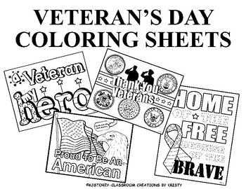 Veteran\'s Day Coloring Pages by Classroom Creations By Kristy | TpT