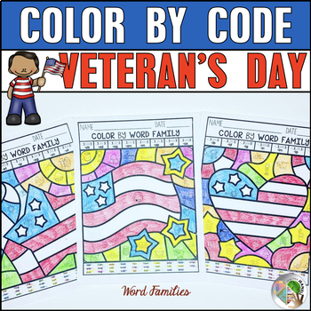 Veteran's Day Coloring Pages | Veteran's Day Color by Code Phonics