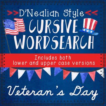 Veteran's Day Cursive Handwriting WORD SEARCH | D'Nealian cursive literacy Fall