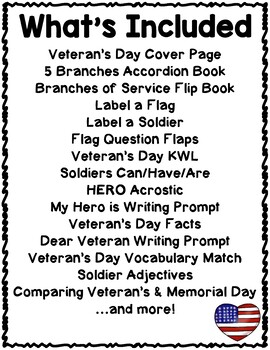 Veteran's Day Activities Interactive Notebook Lapbook