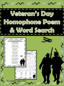 Veteran's Day Homophone Poem and Word Search