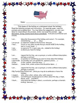 Patriotic I Am Poem 4-8 CCSS Descriptive Writing for 4th of July