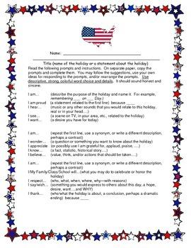 Patriotic I Am Poem 4-8 CCSS Descriptive Writing for Veteran's Day