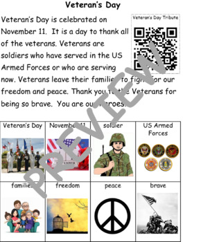 Veteran's Day: Informational Text and Writing Activity