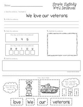 Veteran's Day Literacy Packet