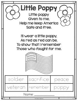 Veteran's Day: Little Poppy Poem