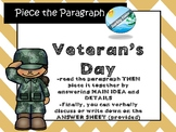 Veteran's Day MAIN IDEA Game / activity