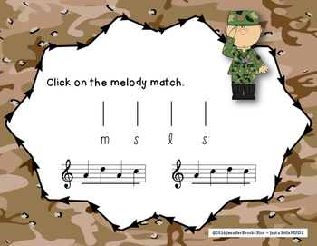 Veteran's Day Melodies - A stick to staff notation game for practicing sol mi la