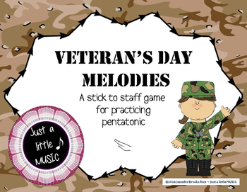 Veteran's Day Melodies - A stick to staff notation game pr
