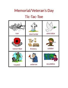Veteran's Day/Memorial Day; Remembrance Day Tic-Tac-Toe