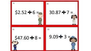 Veteran's Day - Multiplication and Division of Decimals