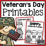 Veteran's Day No-Prep Printables and Writing Prompts