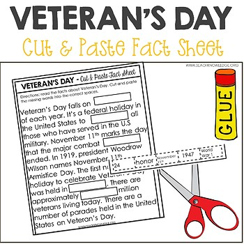 Veteran's Day Nonfiction Facts Cut and Paste Worksheet