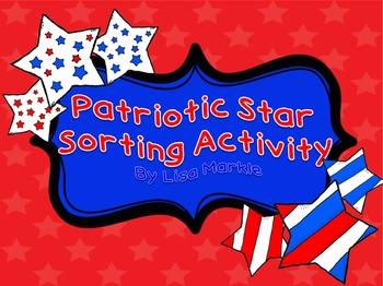 Veteran's Day Patriotic Stars Pattern Sorting Activity