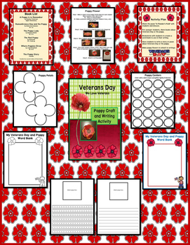 Veteran's Day Poppy Craft and Writing Activity