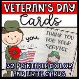 Veteran's Day Cards- Printable Color and Write Cards