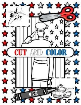 Veteran's Day Read, Write, Cut, Color mini flashcards