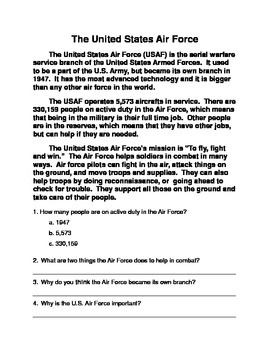 Veteran's Day Reading Comprehension