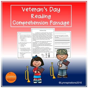 Veteran's Day- Reading Comprehension Passage