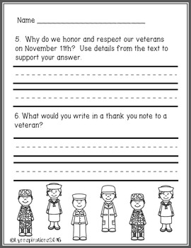 Veteran's Day- Reading Comprehension Passage