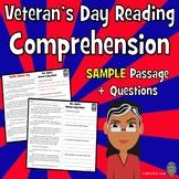 Veteran's Day Reading Passage, Veteran's Day Reading Comprehension