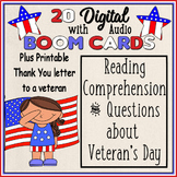 Veteran's Day Reading Comprehension and Questions {Boom Cards} with Audio