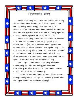 Veteran's Day Reading Passage