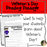 Veteran's Day Reading Passage