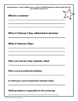 Veteran's Day Research Project