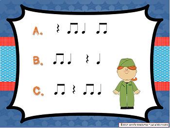 Veteran's Day Rhythms -- An Aural Rhythm Recognition Game {ta titi rest}