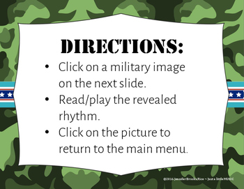 Veteran's Day Rhythms - Interactive Reading Practice Game {tika ti}