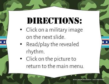 Veteran's Day Rhythms - Interactive Reading Practice Game {tika tika}