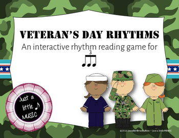 Veteran's Day Rhythms - Interactive Reading Practice Game {triple ti}