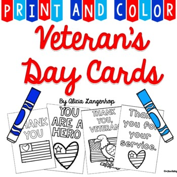 Veteran's Day Thank You Cards - Print & Color
