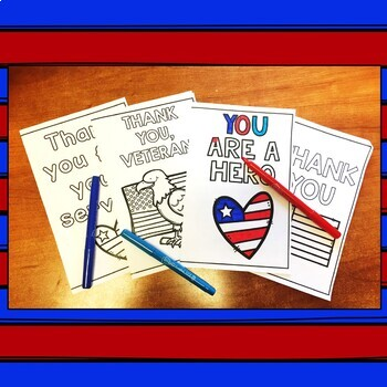 Veteran's Day Thank You Cards - Print & Color by ...