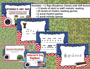 Veteran's Day Themed BUNDLE of 18 melody & rhythm products