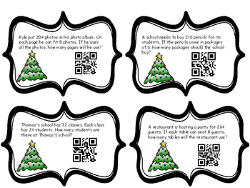 Christmas Multiplication and Division Word Problem Task Cards