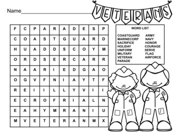 Veteran's Day Word Search 2