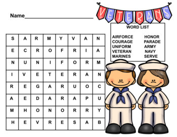 Veteran's Day Word Search 3