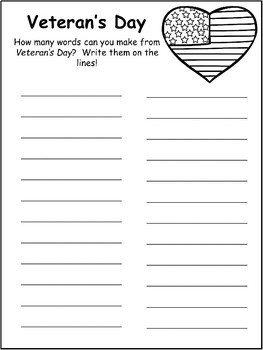 Veterans Day - Worksheets - Print and Go