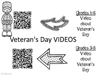 Veteran's Day coloring book , letter, and QR codes
