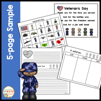 Veteran's Day for Early Learners FREEBIE SAMPLE