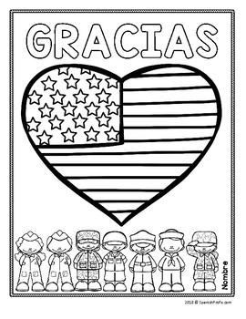 Veteran's Day in Spanish (Dia de los Veteranos actividades y escritura)