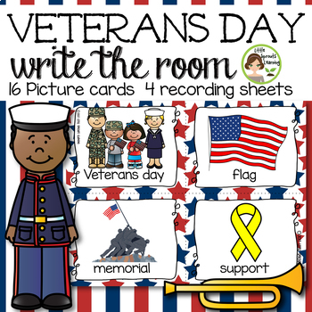 Veteran's day Write the Room (plus beginning sound and vowel cards)