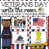 Veterans day Write the Room  - 16 cards four versions, four recording sheets
