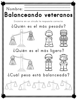 Worksheets for Veterano temático alfabetismo and mates SPANISH