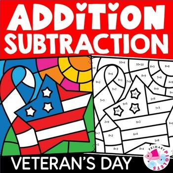 Veterans Color by Number Addition Subtraction BUNDLE